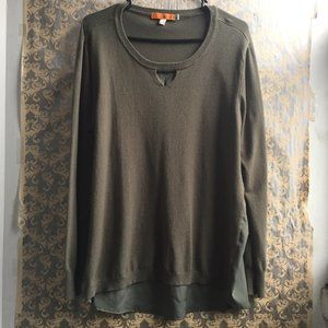 One A Green Keyhole Sweater Mixed Media Top - XL